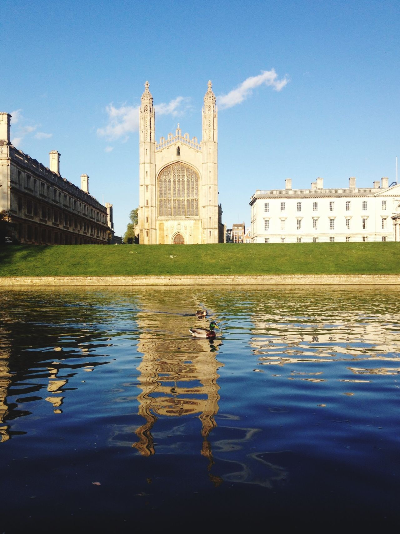 King's College Chapel River Ducks Landmark Water Reflections