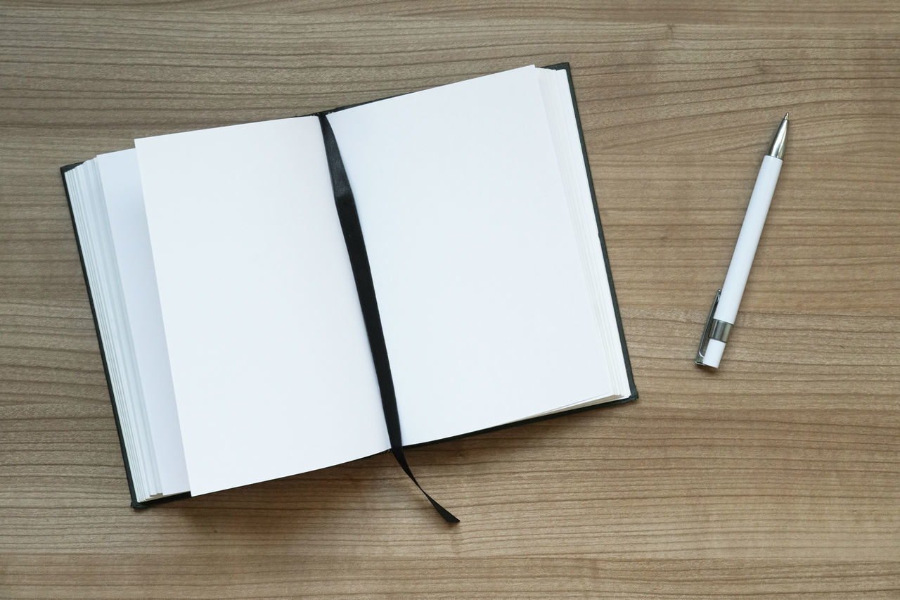 Ballpoint Pen Blank Business Copy Space Desk Desk From Above Diary Directly Above Empty High Angle View Indoors  No People Note Pad Notebook Page Paper Pen Table Wooden Write Writing
