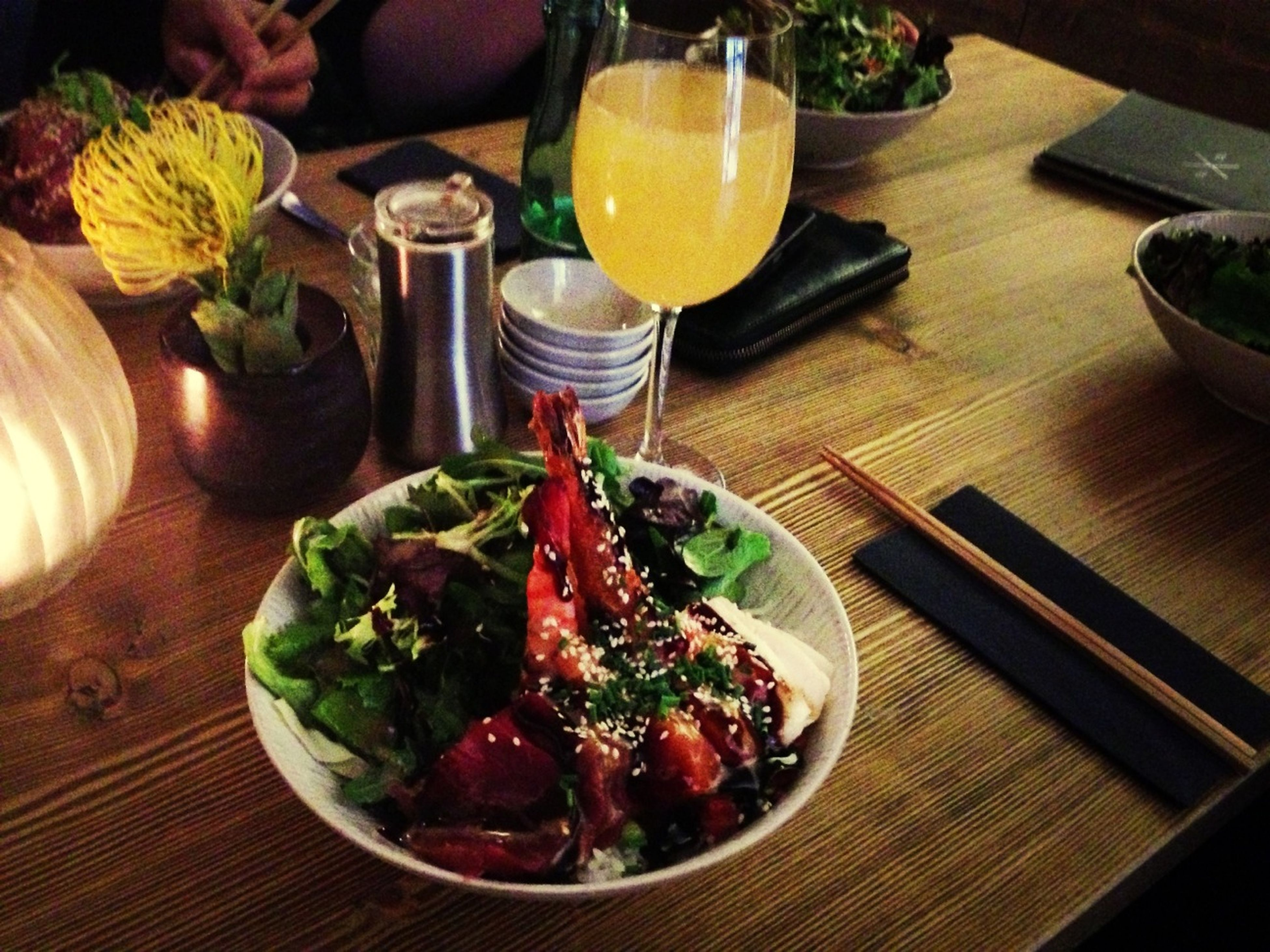 food and drink, table, indoors, food, freshness, still life, healthy eating, plate, ready-to-eat, high angle view, wood - material, vegetable, drinking glass, drink, serving size, meal, salad, served, restaurant, bowl