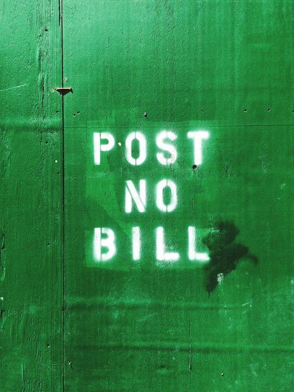 Green Wall Post No Bills Stencil Type Construction Site