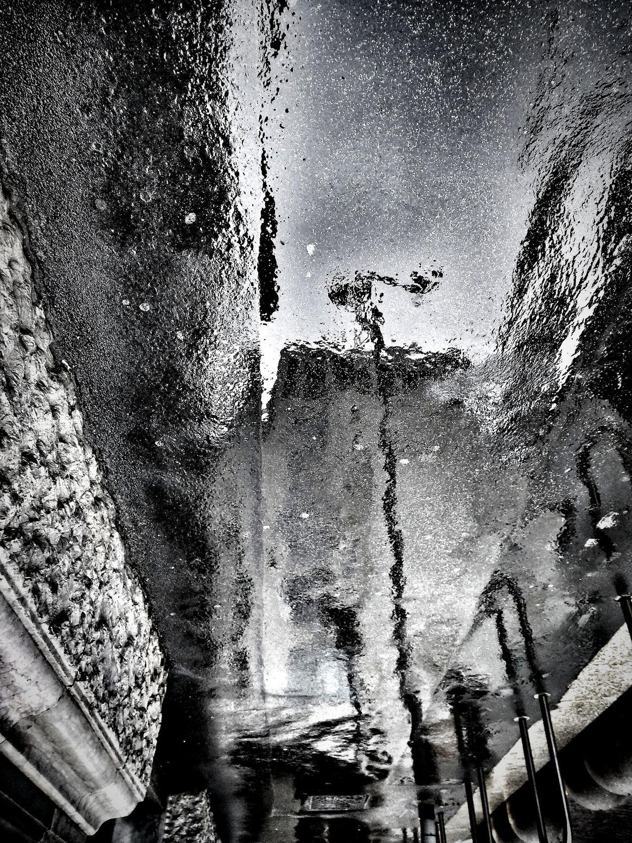 Blackandwhite Rainy Day Walking In The Rain Urban Reflections Upside Down