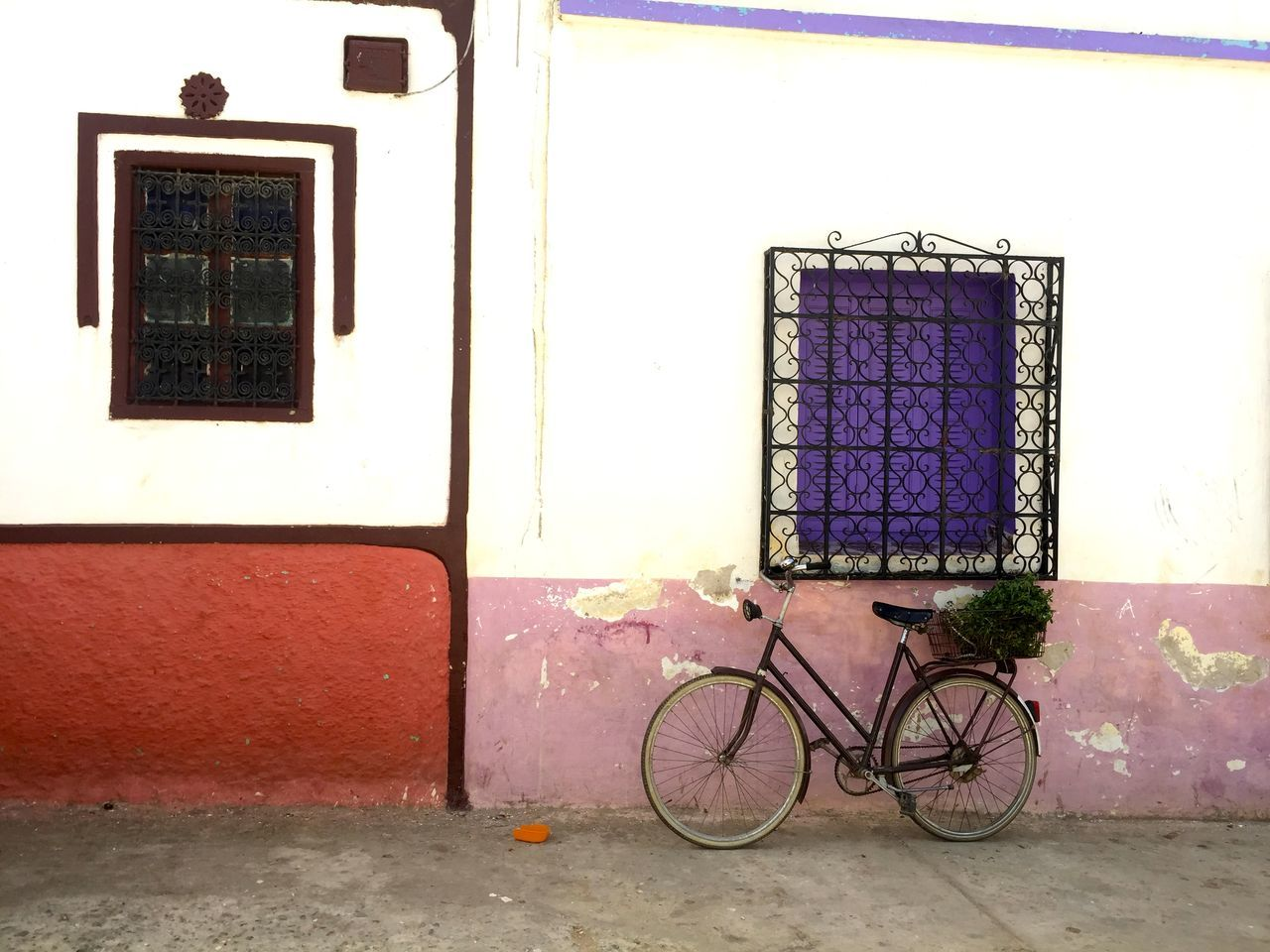 Architecture Basket Bicycle Bike Building Exterior Colorful Iron Leaning Local Local Life Morocco Neighborhood No People Old Fashioned Parked Rustic Shutters Transportation Travel Vegetables Vintage Wall Weathered Window Wrought Iron