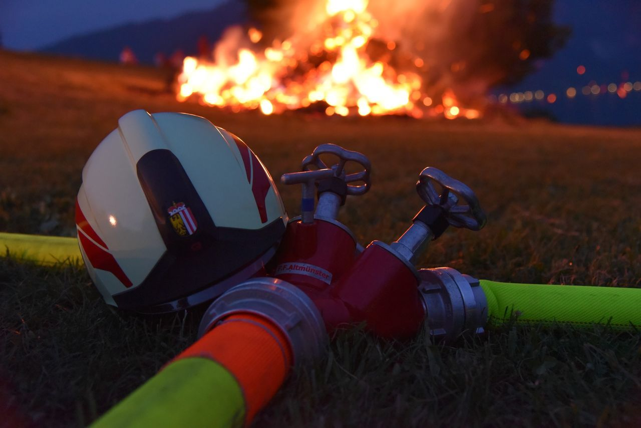 Fire Fire Brigade Flame Helmet Illuminated Night No People Outdoors Rescue Rescue Helmet Rescue Tube Tube