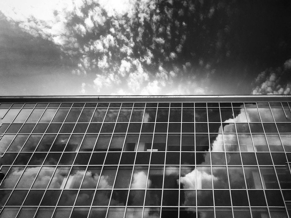 Black And White Friday Sky Cloud - Sky Day No People Outdoors Architecture Minimalism Window Reflection Clouds And Sky Blackandwhite Windows Cloud