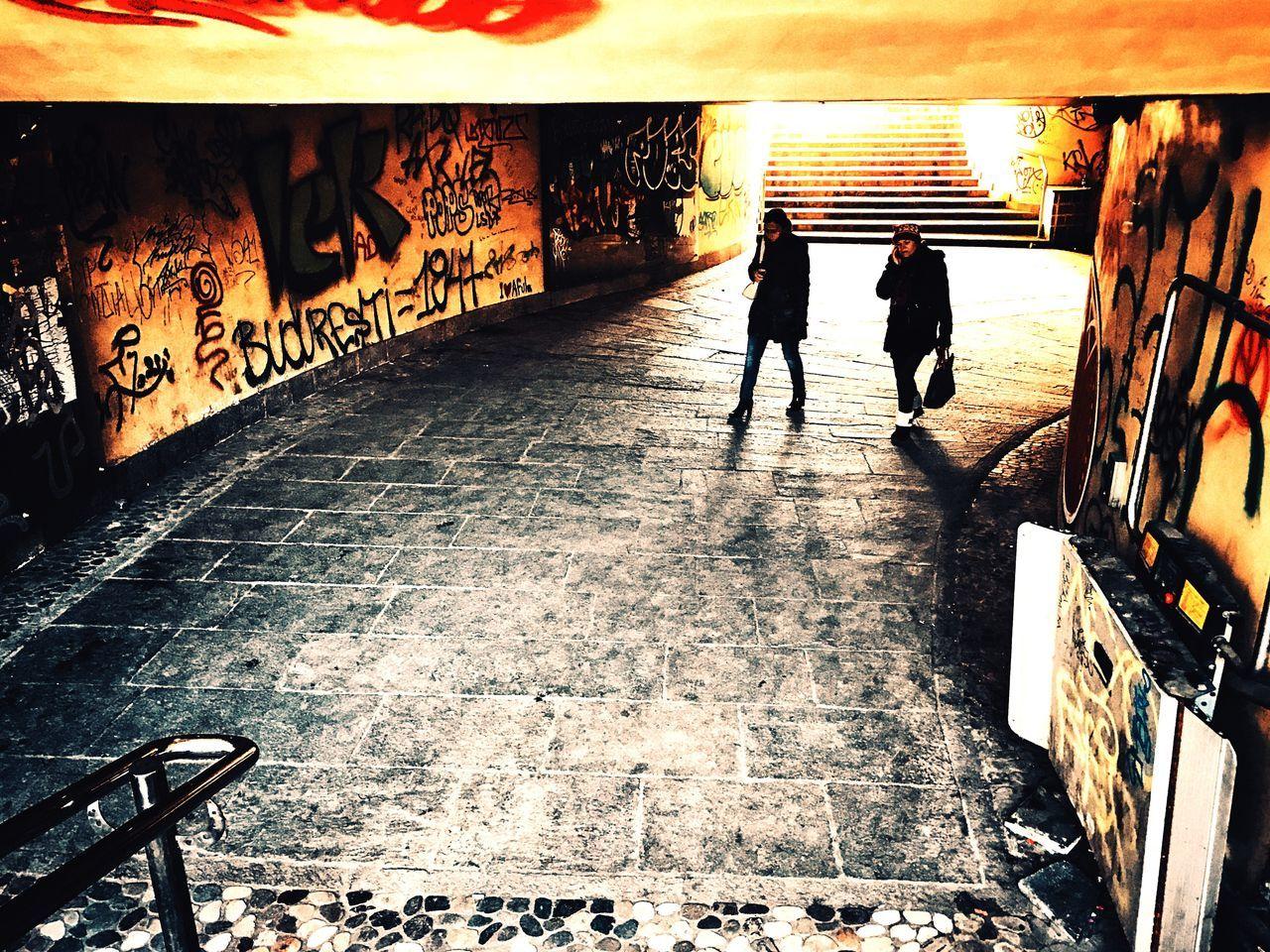 Real People Walking Women Lifestyles Built Structure Steps Subway Underground Passage Working Day Inertia Bucharest