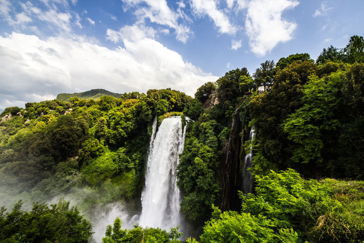Waterfall of Marmore Beauty In Nature Cloud - Sky Day Forest Italia Italy Long Exposure Marmore Falls Motion Natural Disaster Nature No People Outdoors Scenics Sky Summer Tern Travel Destinations Tree Water Waterfall