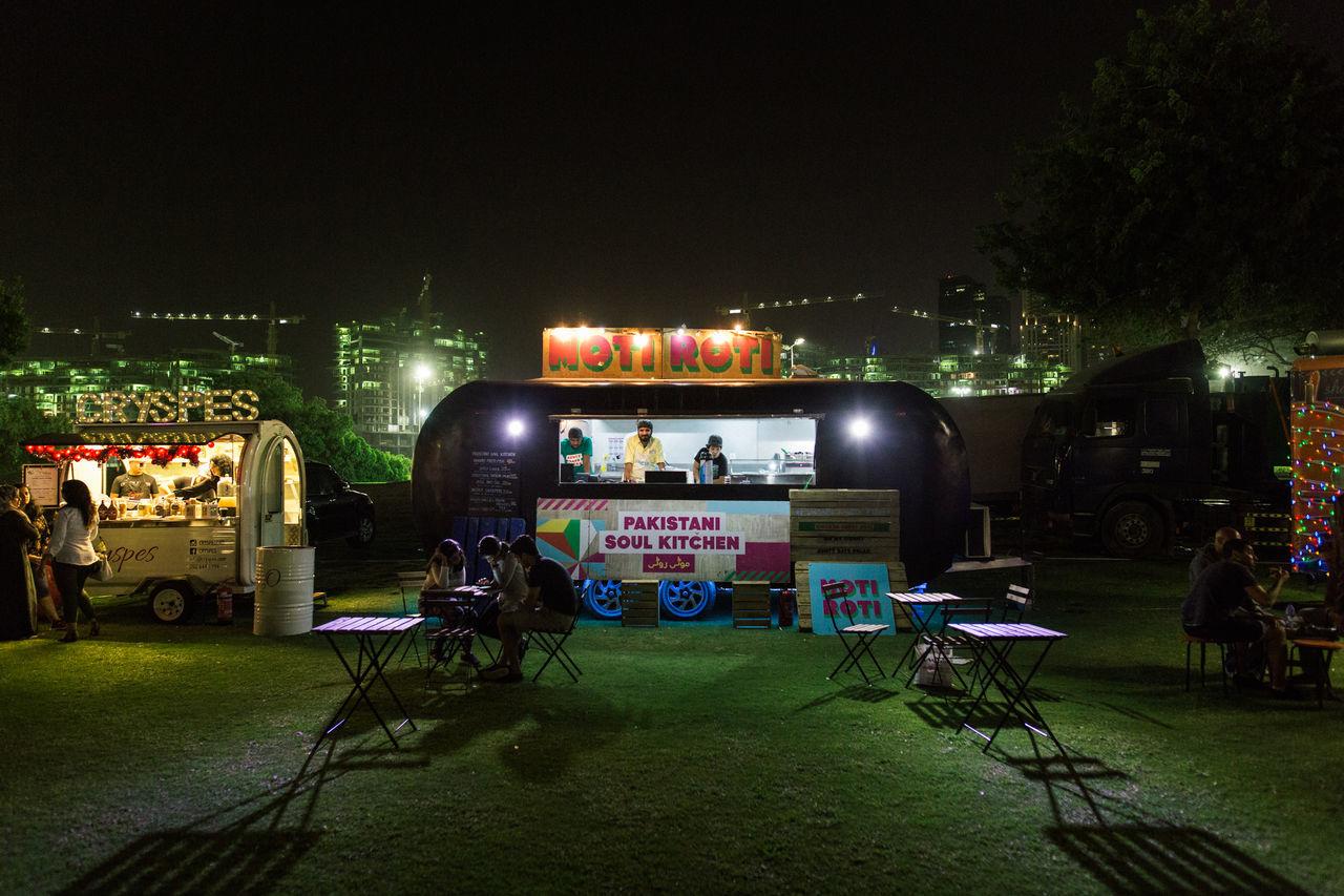 Architecture City First Eyeem Photo Food Truck Grass Illuminated Night No People Outdoors Sky