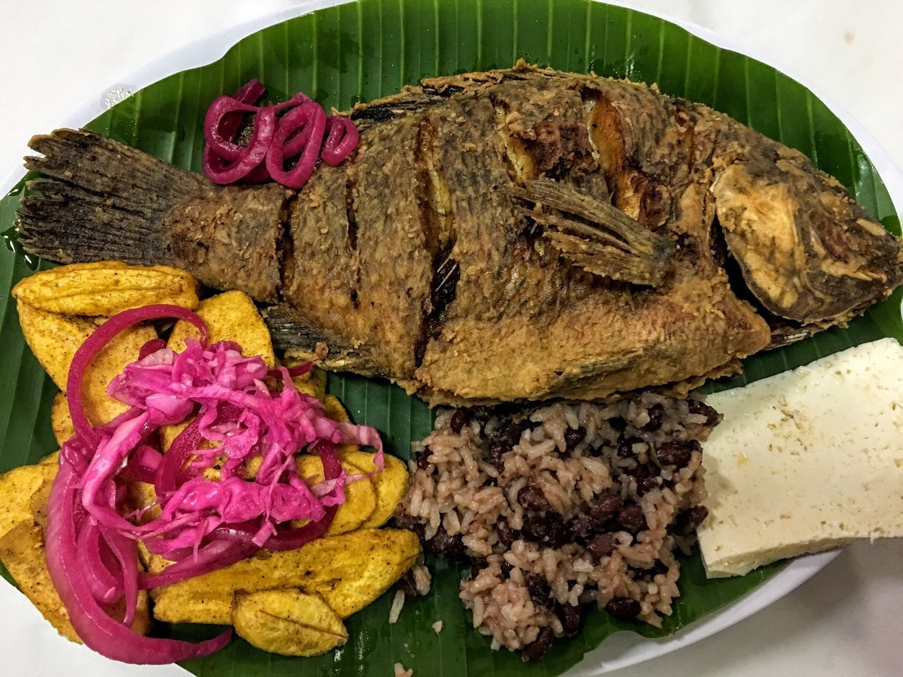 Flower No People Food Freshness Indoors  Banana Leaf Close-up Ready-to-eat Day Visual Feast Honduras Fried Fish Delicious