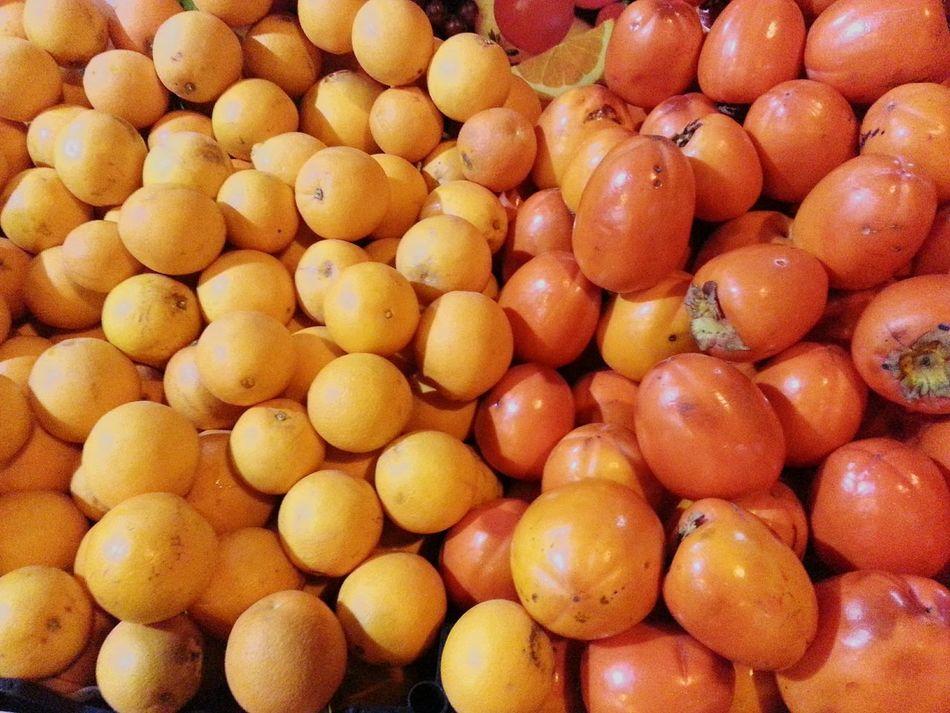 Time to breakfast Food Freshness Healthy Eating Fruit Food And Drink Full Frame Market For Sale Close-up Orange Oranges Kaki Kaki Fruit Kaki Lima Kakilima Kaķis