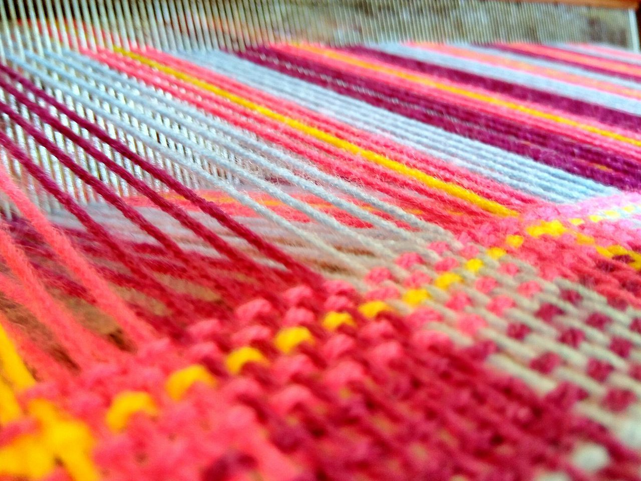 multi colored, textile, pattern, selective focus, indoors, close-up, no people, wool, textured, backgrounds, day