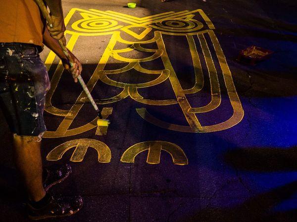Yellow Man Made Object Streetart Owl