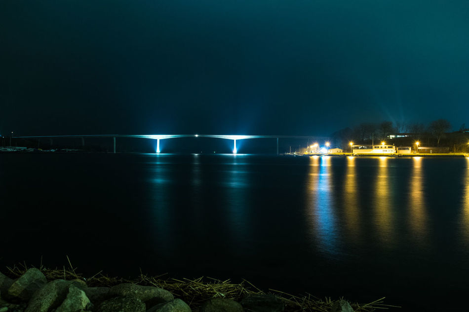 #alssundbroen #architecture #bridge #civilization #Dark #lights #Night #nightshot #nopeople #reflections #sea #sønderborg #water