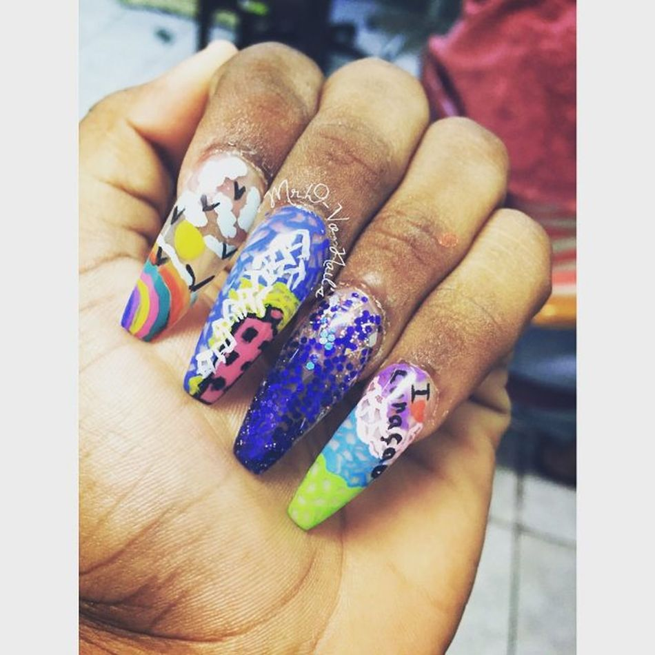 Ballerinanails Collorful Coffinnails done by me