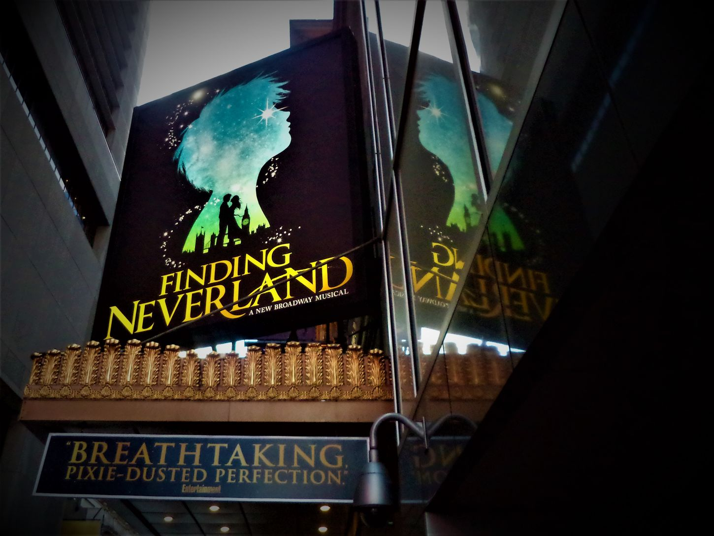 Here is a shot of Broadways Finding Neverland in New York City USA. Blue Broadway Broadway New York Broadway Show City Close-up Communication Dark Blue Evening Sky Finding Neverland Illuminated Neon New York City New York City Life New York City USA New York ❤ Night No People NYC Outdoors Reflection Reflection Shows Text Yellow Colour