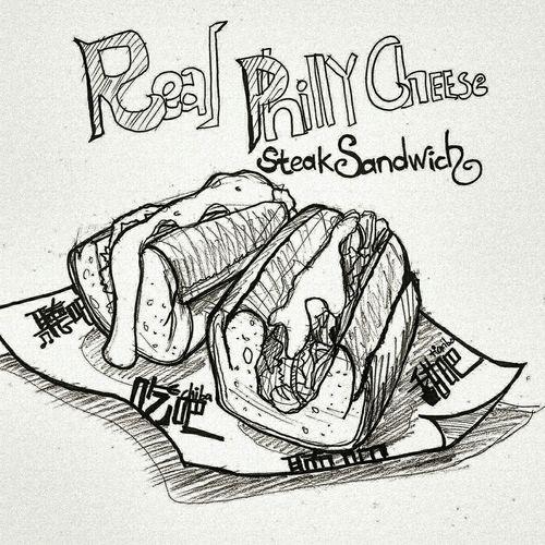 吃吧,費城牛肉三明治🐮。 Art Black And White Painting Pencil Drawing Sandwich Food Cheese Chiba 吃吧 Ximending