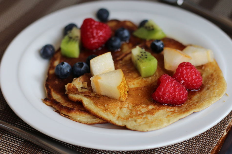 Homemade pancakes with fruits on a plate Berry Fruit Blueberry Breakfast Close-up Day Dessert Food Food And Drink Freshness Fruit Indoors  Indulgence No People Pancake Pancake Time Pancakes Plate Ready-to-eat Strawberry Sweet Food