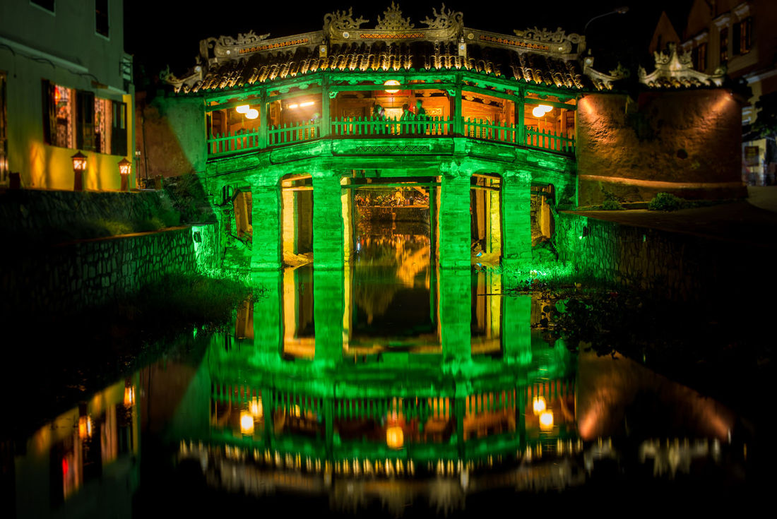 Green Japanese Bridge Architecture Bridge Built Structure City Cultures Hoi An Hoi An By Night Hoi An Unesco Weltkulturerbe World Heritage Illuminated Japanese Bridge Long Exposure Night Night Photography No People Outdoors Reflection Reflections In The Water Travel Travel Destinations UNESCO World Heritage Site Viet Nam Vietnam