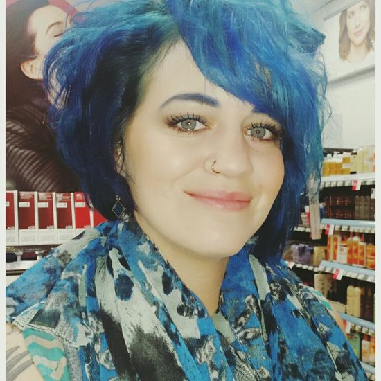 Smiling Confidence  Beauty Enjoying Life Nose Piercing Beautiful Day Colorful Hair Lifeisbeautiful BlueHair HappySaturday Beyourself Hello World