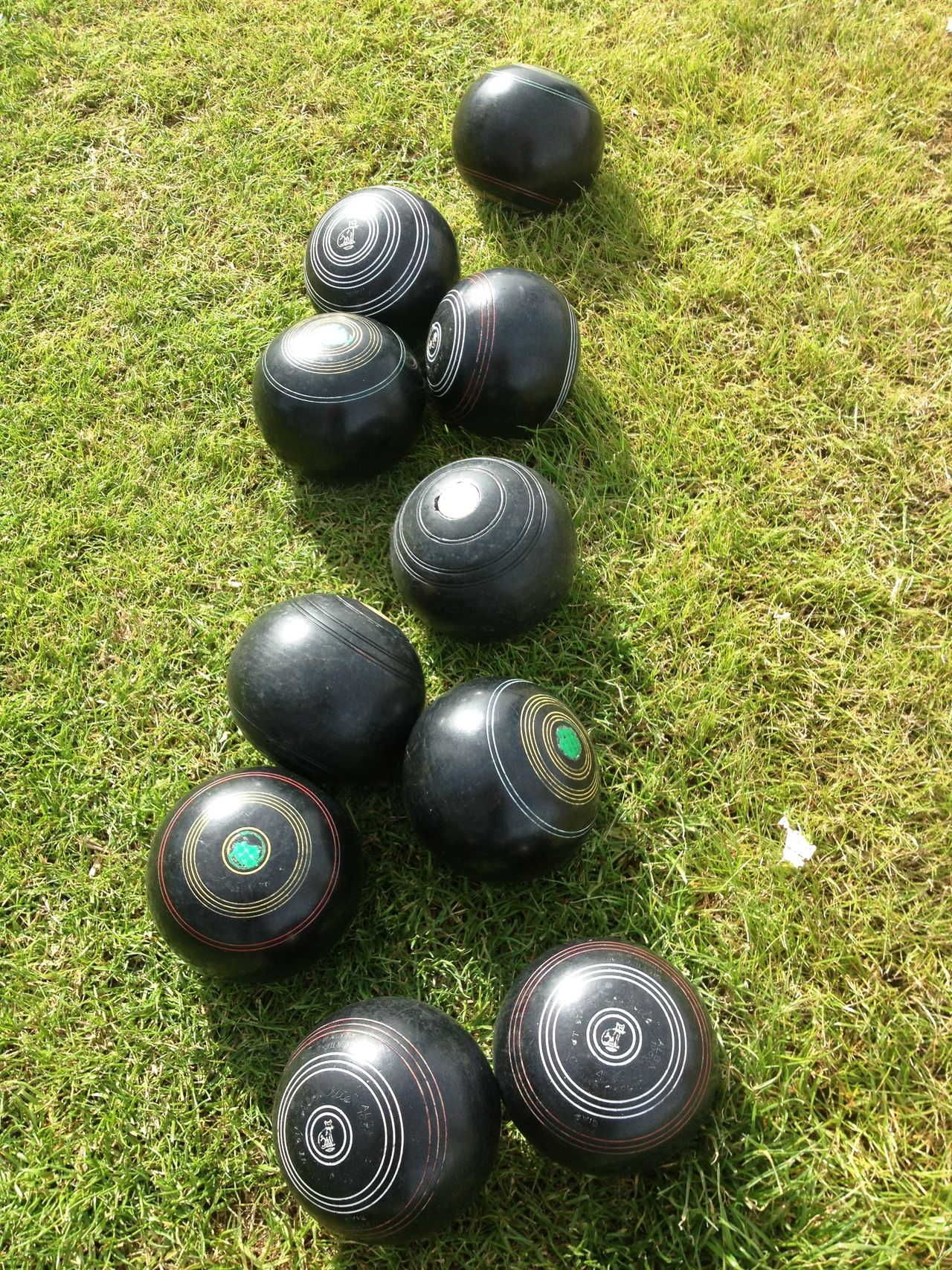 Blythe, CA Bowling Balls Close-up Day Grass High Angle View Landscape Lawn Bowling No People Outdoors