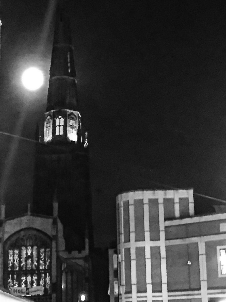 architecture, night, built structure, building exterior, illuminated, religion, low angle view, no people, place of worship, outdoors, sky
