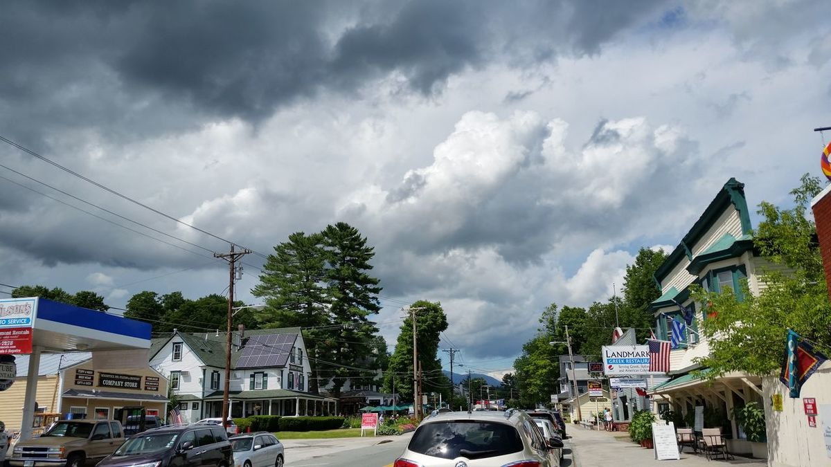 North Woodstock, Nh Main Street Stormy Skies Summer Summer Storm White Mountains National Park
