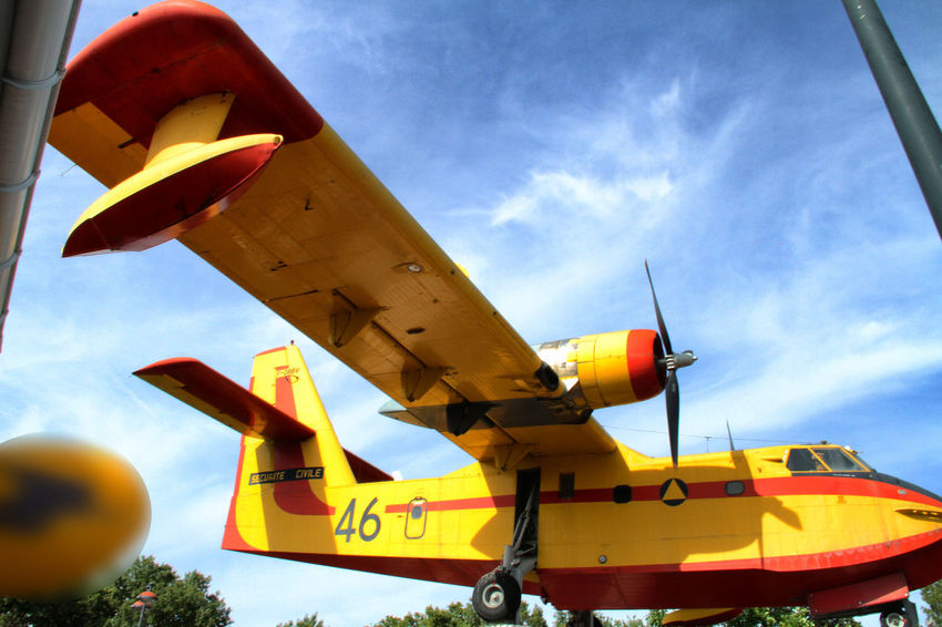 Bomber Canadair Canadair CL-415 Cloud Cloud - Sky Day Firework France Photos Low Angle View Plane Sky Water Bomber Yellow