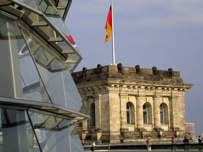 View from the new Berlin Reichstag roof to the old Berlin Rechstag roof Architectural Feature Architecture Berlin Berlin Mitte Berlin Photography Berliner Ansichten Building Exterior Built Structure Famous Place Flag History International Landmark Low Angle View Memories Monument National Flag Rei Reichstag Reichstag Dome ReichstagBuilding Reichstagskuppel Tourism Travel Travel Destinations
