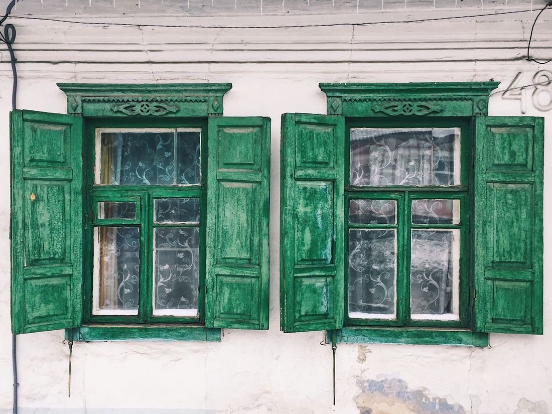 Dnipro Dnipropetrovsk Dnepropetrovsk Dnepr Ukraine Ukraine Ussr Eastern Europe Architecture Green Color Built Structure No People Day Building Exterior Outdoors Travelling Travel Photography Travel Travel Destinations Window Windows Window Frame Shutters Close-up