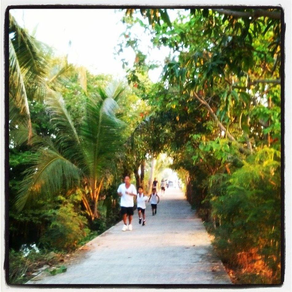 Father and two sons running. Sundaybonding Morningexercise BulacanBulacan Philippines @photosharingcommunity