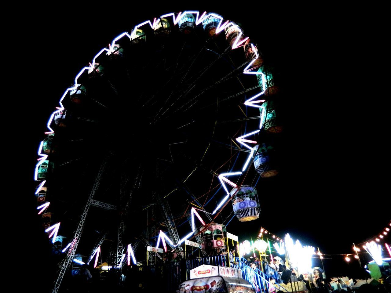 Night Ferris Wheel Low Angle View Fun Multi Colored Black Background Outdoors Puttur India