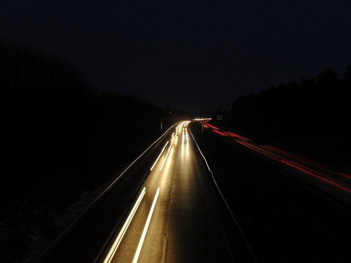 EyeEm Selects Night Illuminated The Way Forward Road Transportation Highway No People Outdoors