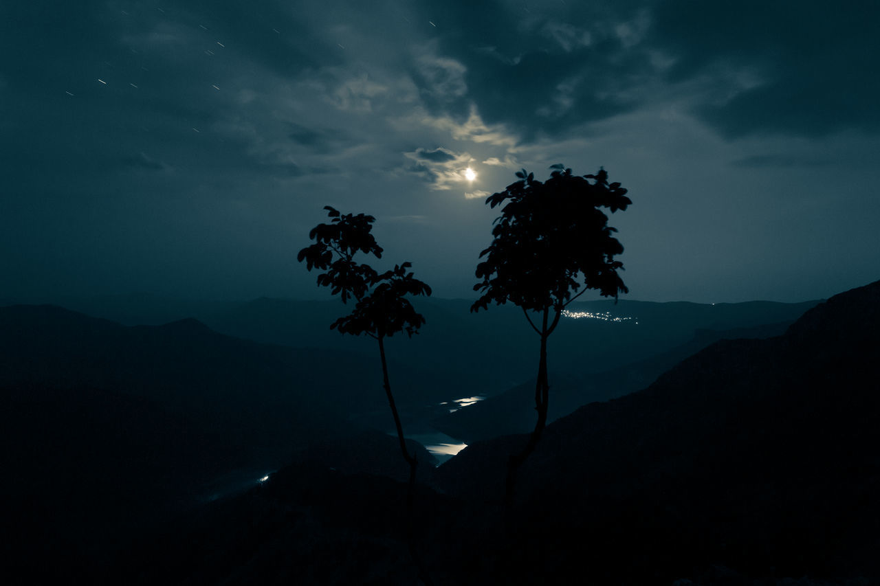 Moonset. Tree Night Travel Landscape Igniting Nature Sky Moon Moonlight Moonshine Moonset Business Finance And Industry Cloud - Sky No People Outdoors