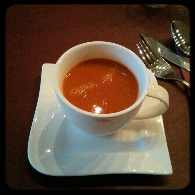 Enjoying home made dinner. Tomato soup starter Dolce Far Niente