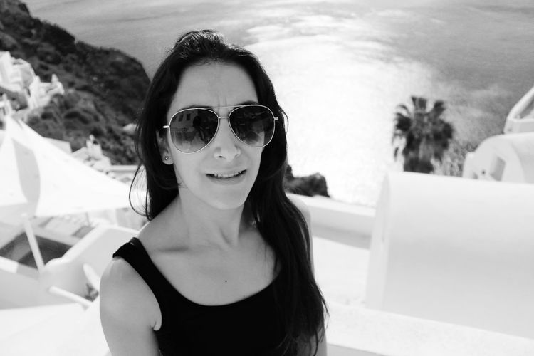 Eveline Adult Beautiful People Beautiful Woman Black And White Casual Clothing Front View Happiness Headshot Looking At Camera One Young Woman Only Outdoors People Portrait Portrait Of A Woman Portraits Real People Seascape Seaside Santorini Woman Portrait Woman Who Inspire You Young Adult Young Women Uniqueness Miles Away Women Around The World Black And White Friday