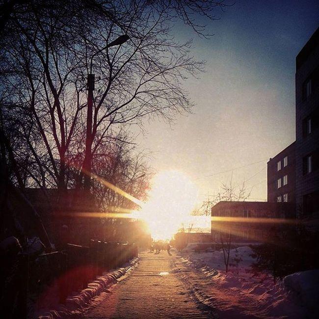 омск сибирь Закат дорогасолнца январь зима Roadofsun Omsk Siberia Winter January