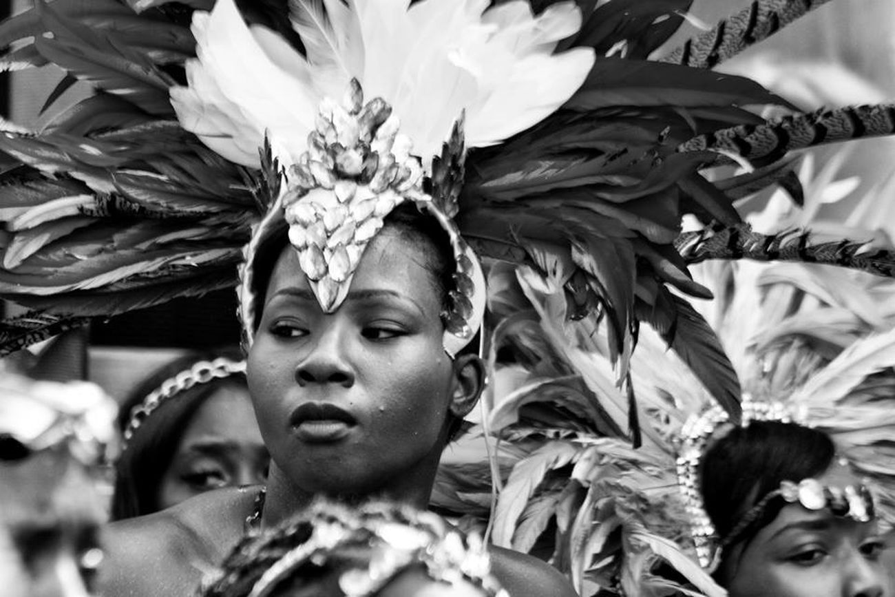 Carnival will soon be here! Carnival Portrait Of A Woman Woman Feathers Headdress Bikini Streetphotography Streetphoto_bw Black And White Photography Black & White