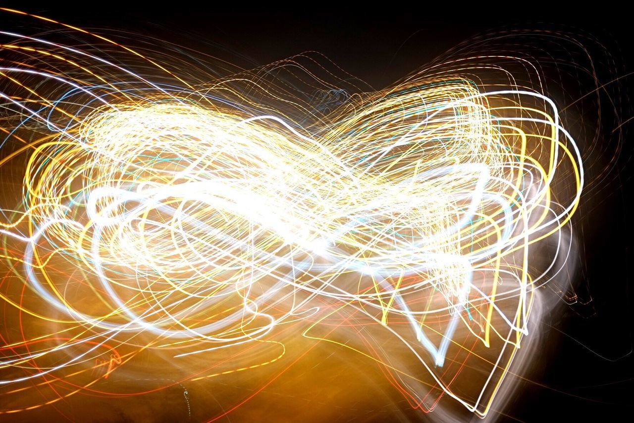 long exposure, light trail, night, motion, speed, illuminated, light painting, glowing, wire wool, blurred motion, no people, swirl, technology, outdoors, sky