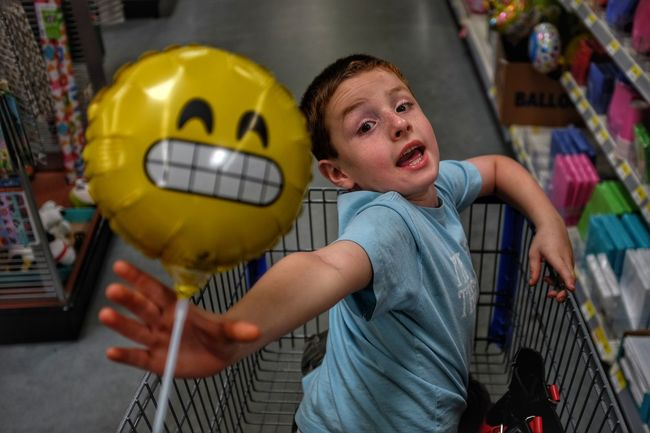 The Emoji Movie : Express Yourself A Day In The Life Baloons Botany Candid Emoji Everyday Lives Shoot Your Life Shopping Shopping Cart Shopping Trolley Smile Walmart ExpressYourself