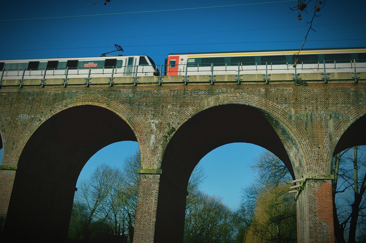 London bound Going For A Walk In The Park Winter Trees Blue Sky Railway Viaduct Under Railway Viaduct Railway Line Train Train Carriage United Kingdom Nikon D3200