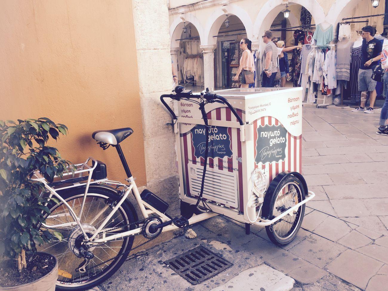 Bicycle Ice Cream Corfu Main Square Gnam