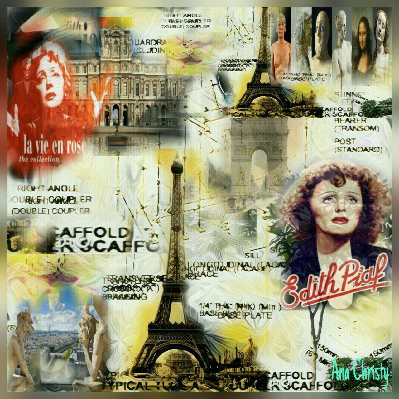 Edith Piaf Paris, France  Singer  Cabaret collage Digital Composite Colorsplash colors Collageoftheday