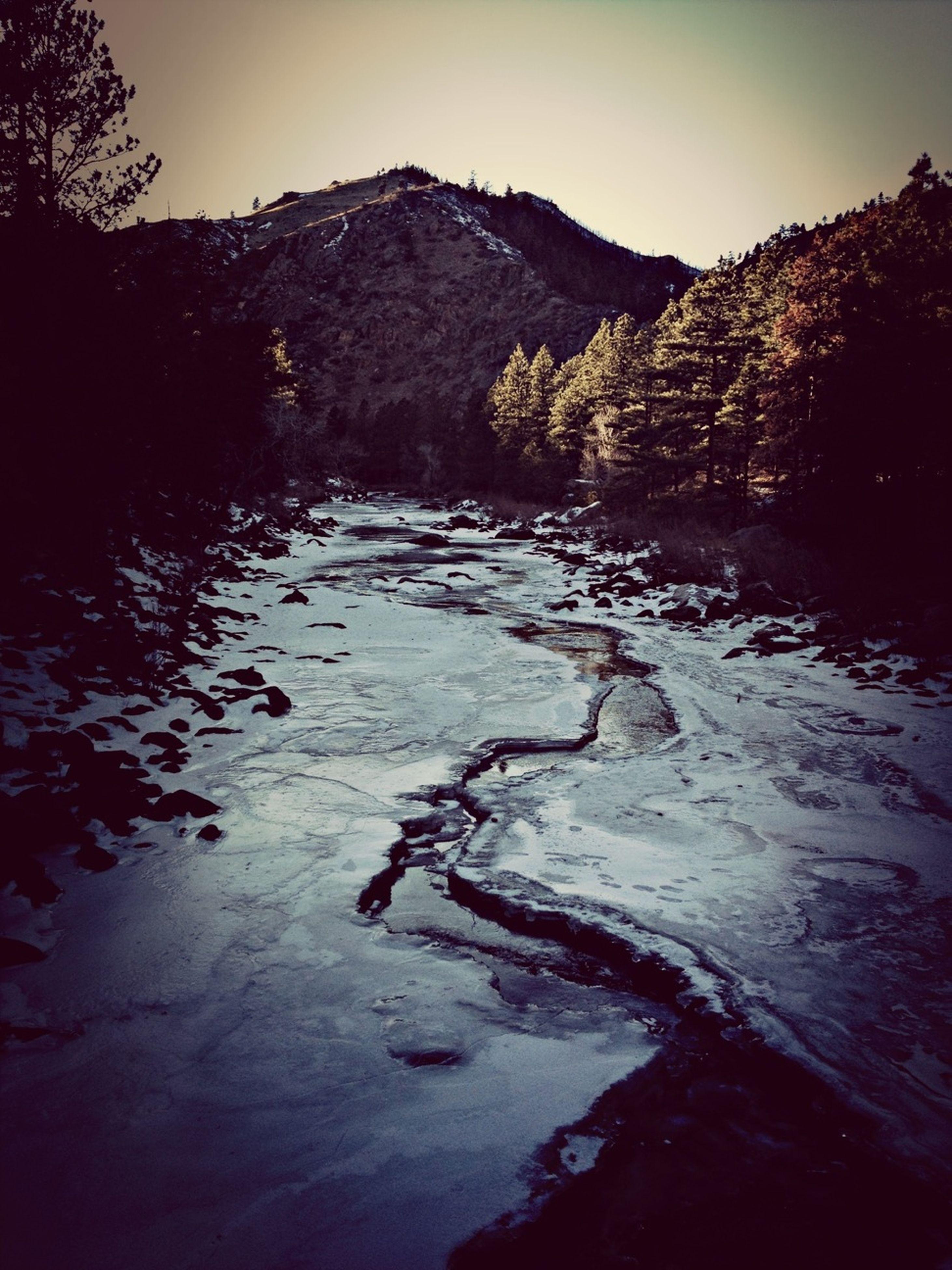 mountain, tranquil scene, tranquility, water, scenics, beauty in nature, snow, mountain range, nature, winter, lake, cold temperature, tree, landscape, non-urban scene, river, clear sky, sky, idyllic, remote