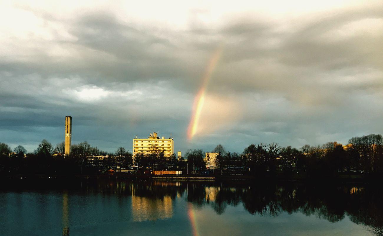 Landscape Urban München Munich Lerchenauer See Lerchenau Winter Rainbow Lake Sky Regenbogen