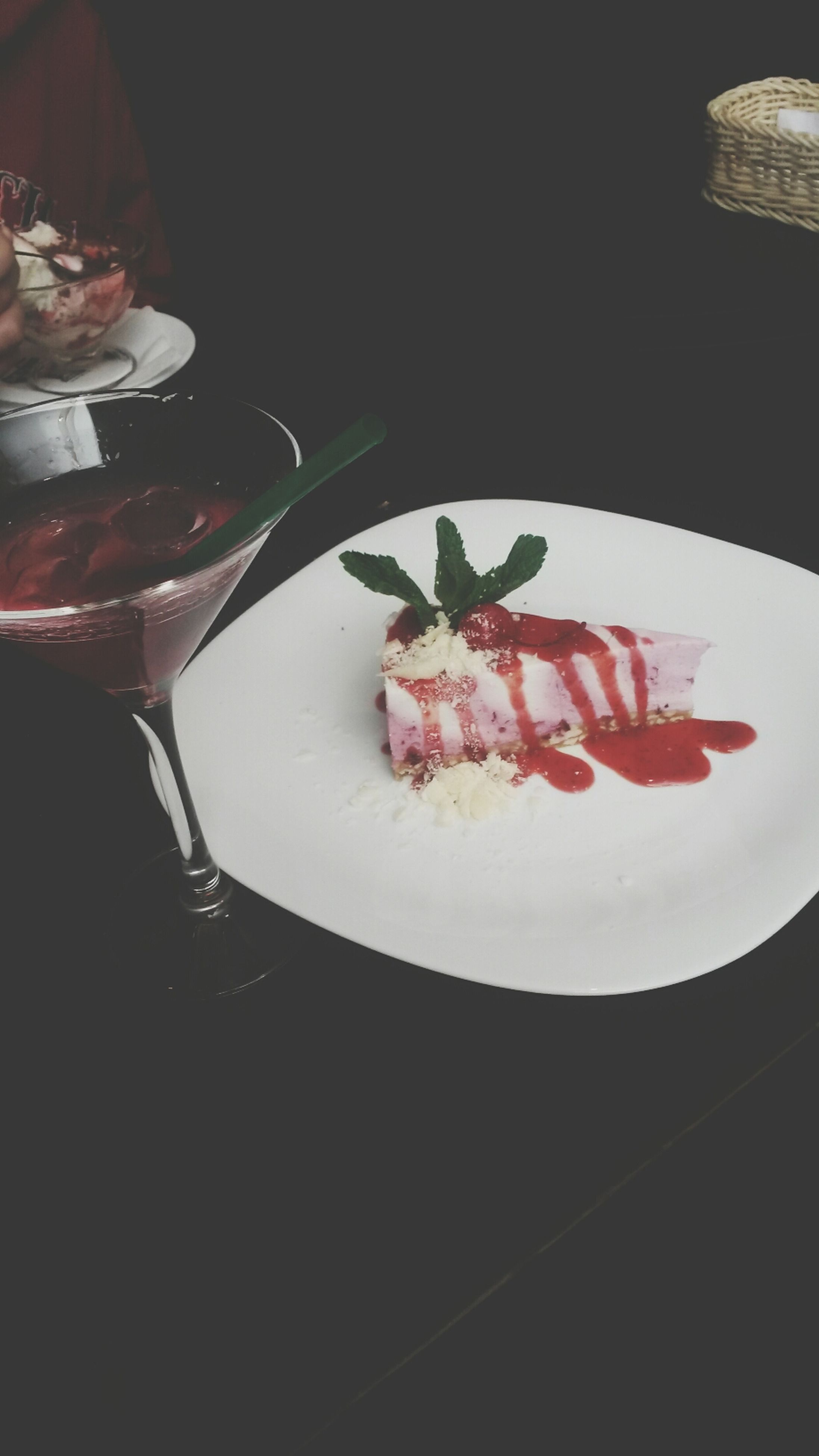 food and drink, freshness, food, indoors, ready-to-eat, indulgence, sweet food, plate, still life, close-up, table, dessert, red, unhealthy eating, temptation, cake, high angle view, strawberry, fruit