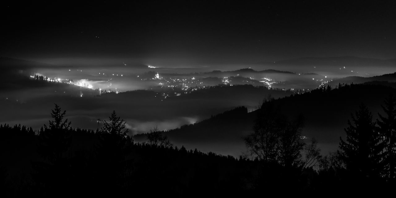 enjoying the view / Black & White City Lights Enjoying The View EyeEm Best Shots - Black + White Fog Forest Fortheloveofblackandwhite Illuminated Landscape Landscape_Collection Long Exposure Mountain Nature Night Nightphotography No People Outdoors Scenics Silhouette Sky Star - Space Tranquil Scene Tree Valley View From Above