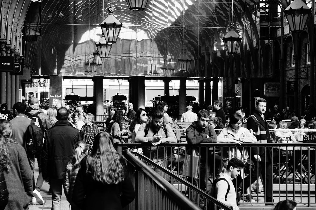 1803 Architecture Black & White Black And White Black And White Collection  Black And White Photography Blackandwhite Blackandwhite Photography Built Structure Covent Garden  Coventgarden Crowd Indoors  Indoors  Lanterns Large Group Of People Market Men People People Watching Real People Reflection Reflection_collection Shopping Women EyeEm Diversity The Street Photographer - 2017 EyeEm Awards Live For The Story EyeEm LOST IN London