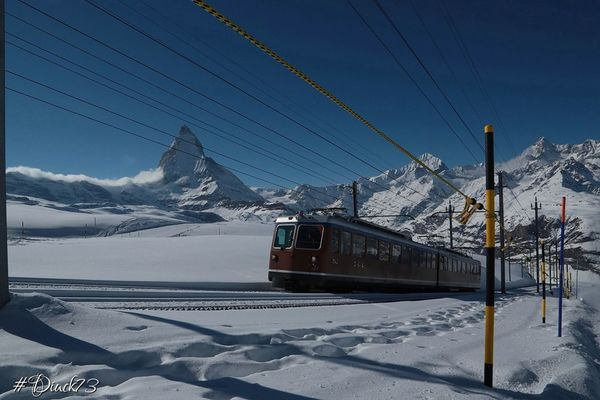The Gornergrat train that leads to 3100m at Zermatt by Diuck73