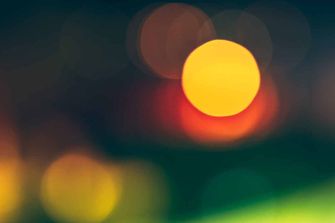 circle, night, yellow, orange color, outdoors, sunset, no people, beauty in nature, multi colored, illuminated, sky, moon, nature, close-up, astronomy