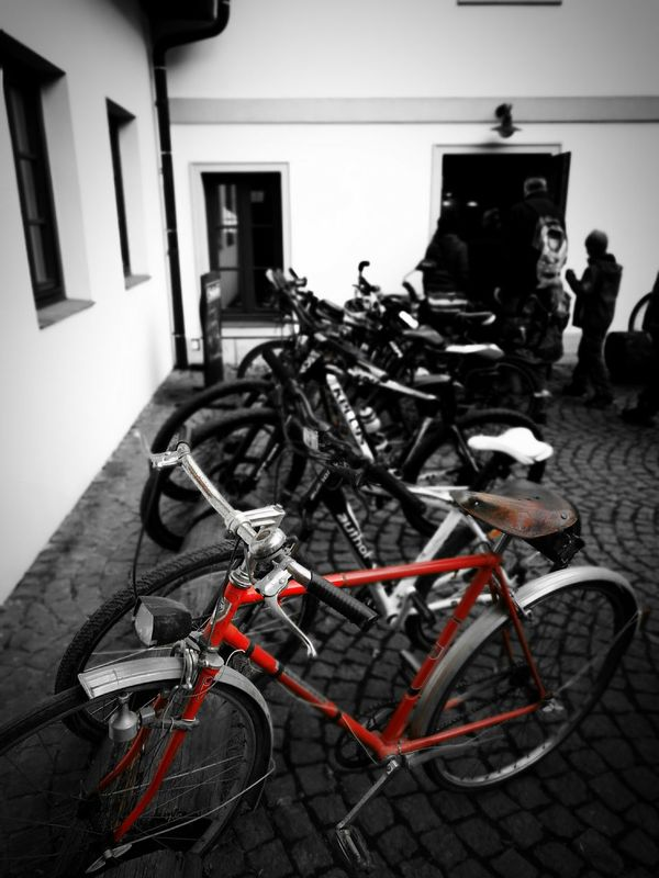The last old bycicle Cycling The Last One Old Bicycle New Vs. Old Ride Retro Modern Vs Historical Oparno black&white