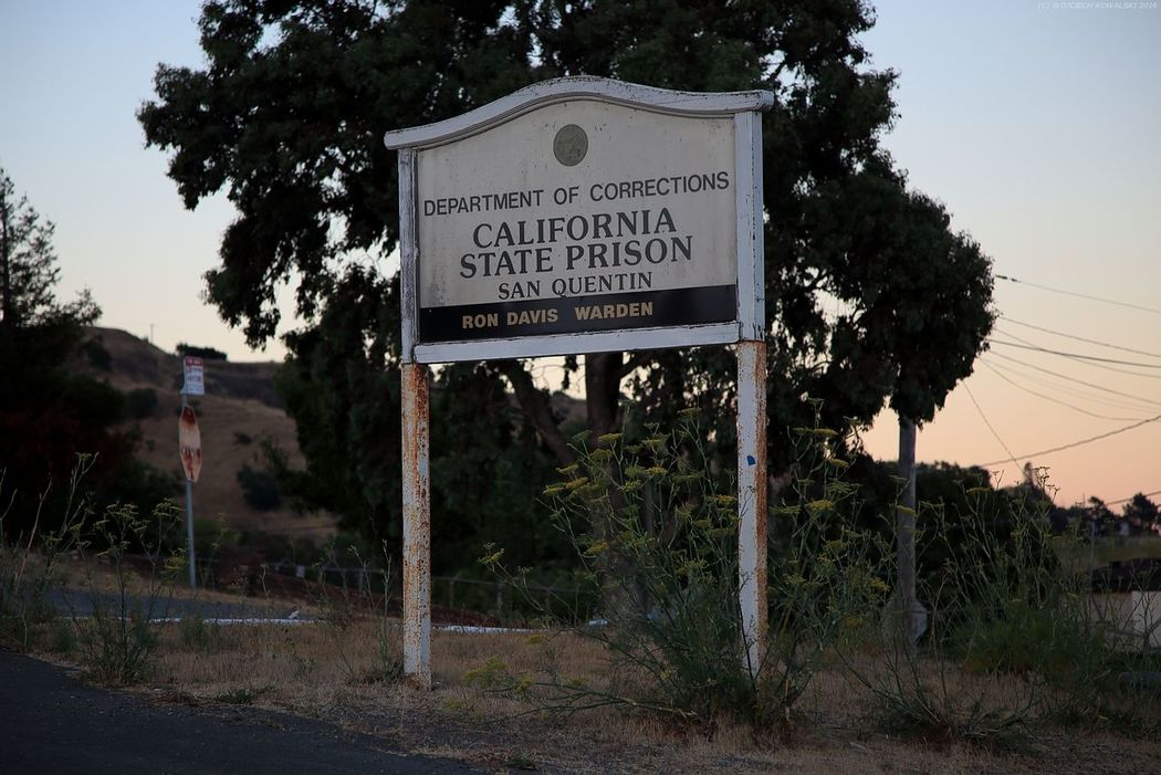 Bay Bay Area California Day Nature No People Outdoors Prison Road Sign San Francisco San Quentin Sky State State Prison Sunset Text Tree